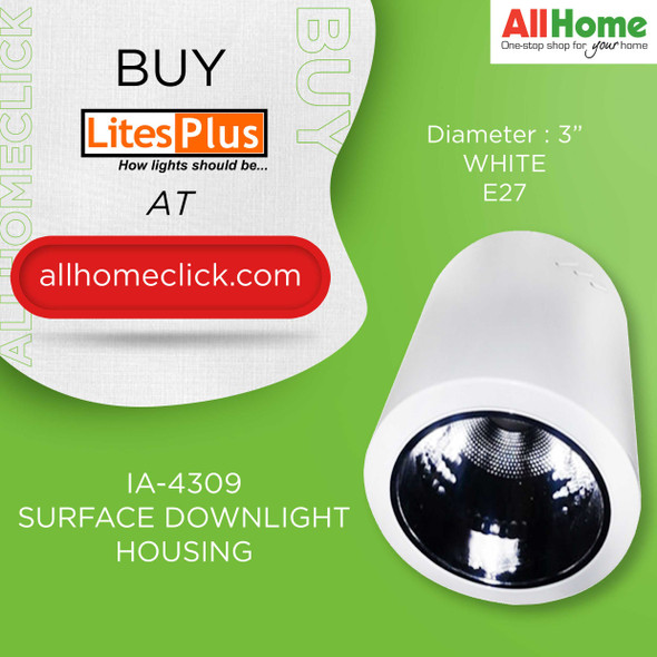 LITESPLUS IA-4309-3.5 WHITE SURFACE DOWNLIGHT HOUSING