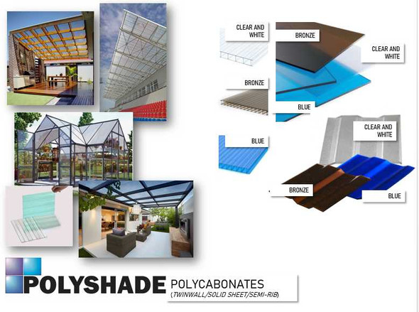 Polyshade Polycarbonate Solid Sheet Roofing 4ftx1ftx3mm