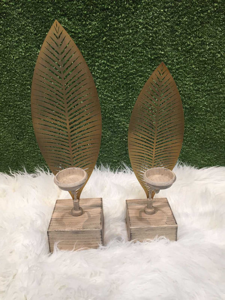 Metal with Wooden Base Leaf Candle Holder Small