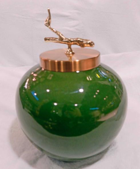 Green Ceramic Round Decorative Urn