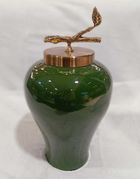 Green Ceramic Decorative Urn