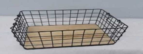 TALL RECTANGULAR METAL WIRE BASKET WITH WOOD BASE SMALL