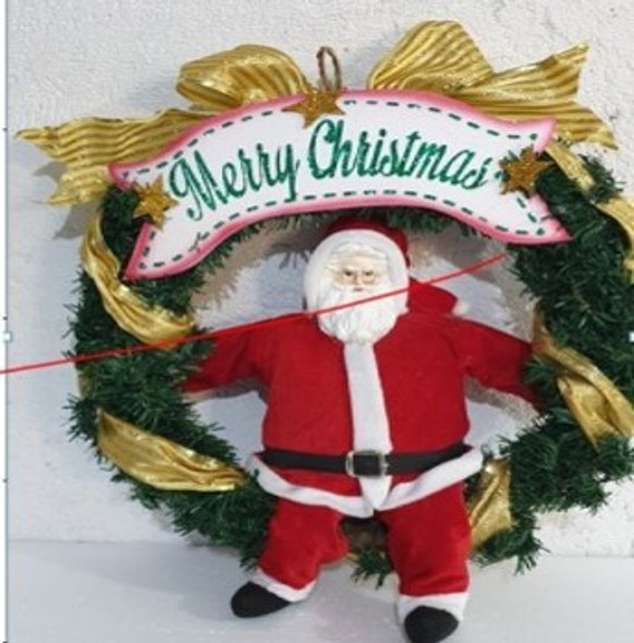 Wreath with White Merry Christmas Banner