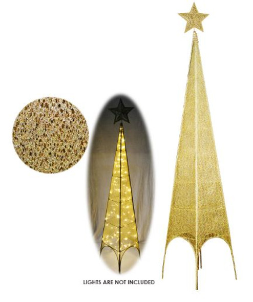 XTWG1106 6FT TOWER WIRE CHRISTMAS TREE-GOLD