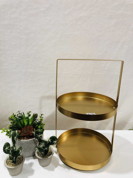 AC005-25-G 2 Tier Round Plate Stand Gold
