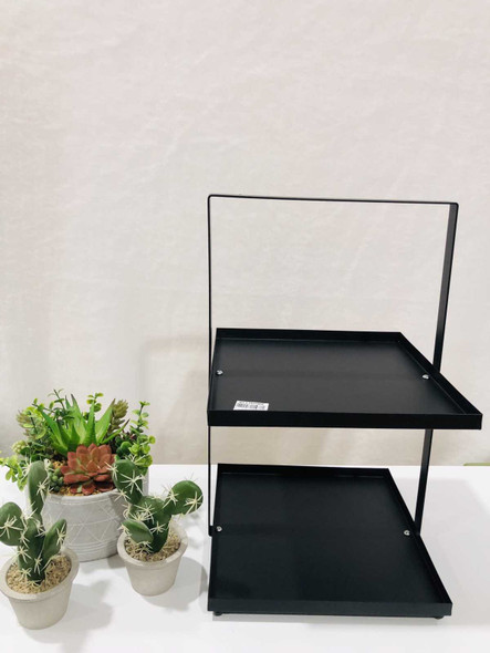 AC006-25-B 2 Tier Rectangular  Plate Stand Black