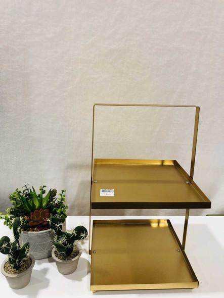 AC006-25-G 2 Tier Rectangular Plate Stand Gold