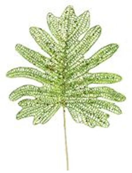 SEM4323GR GLITT. PALM SPRAY PICKS- GREEN