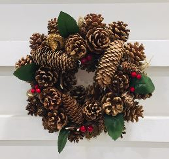 JHF1810-077 18ACX102 Pinecone Wreath 10in