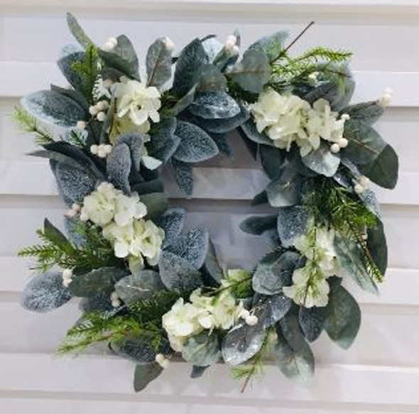 JHF1810-078 LFG32P21-24 Leaves Wreath with Flowers 18in.