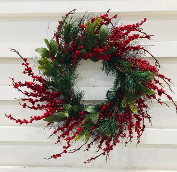 JHF1810-085 LFG3412PW-16 Wreath with Small Berries and White Twigs