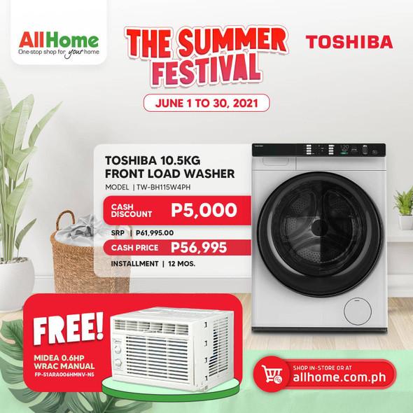 TOSHIBA TWBH115W4PH 10.5 KG Frontload