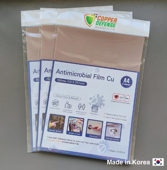 Copper Defense Anti-Microbial Film A4 size Non-Adhesive 5sheets