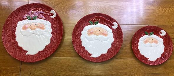 "RHM1906-004 1513-3 Ceramic Santa Plate Red 6"""