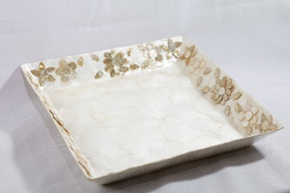 CAPIZ SQUARE TRAY WITH FLOWERS