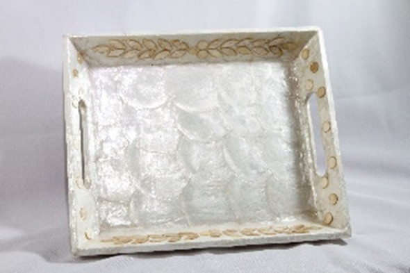 CAPIZ WOOD RECT TRAY WITH LEAVES CHIPS