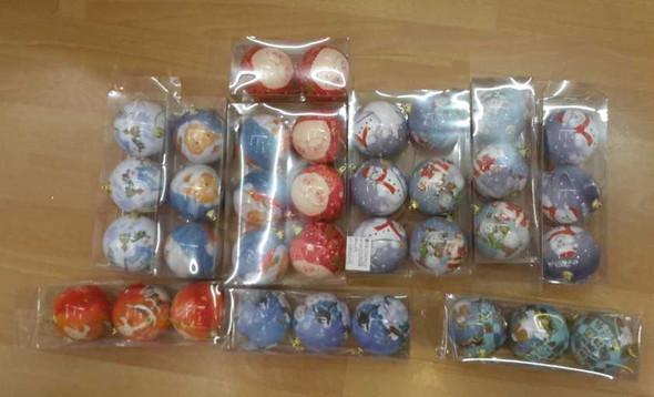 RHM1707-001 3pc Big Santa Christmas Balls Assorted Design