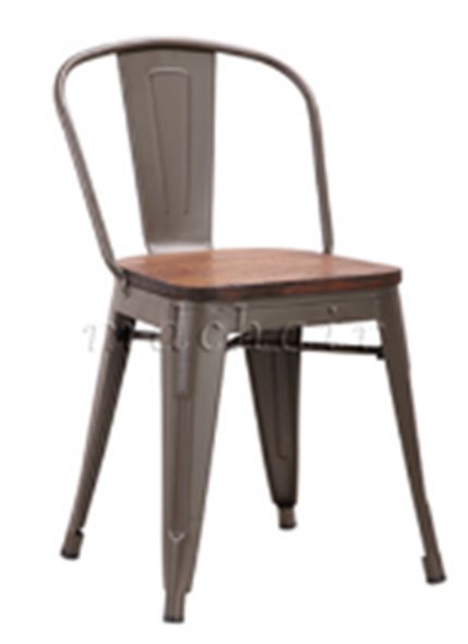 MARCEL STEEL CHAIR W/ WOODEN SEAT