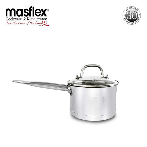 SS-189P 18CM SUPREME STAINLESS STEEL SAUCEPAN W GLASS LID