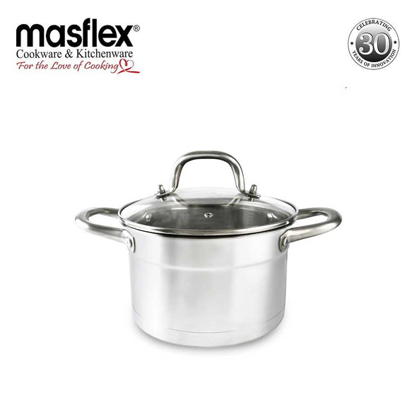 SS-20DO 20CM SUPREME STAINLESS STEEL CASSEROLE W GLASS LID