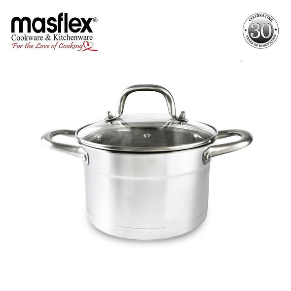 SS-24DO 24CM SUPREME STAINLESS STEEL CASSEROLE W GLASS LID