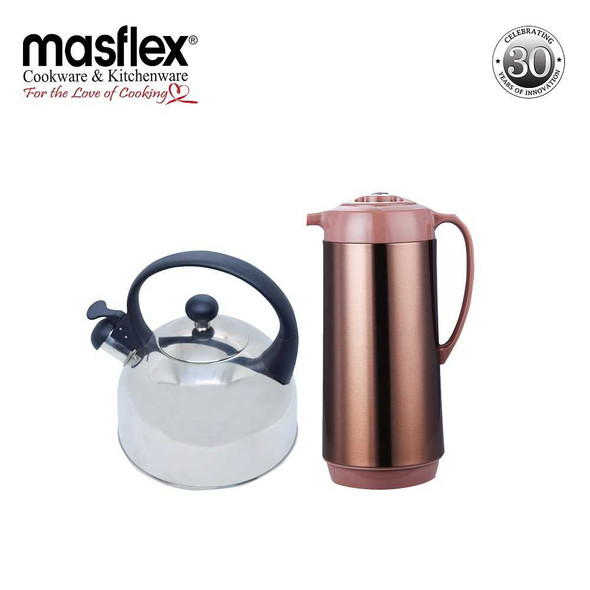 JH20/2.5L Induction Whistling Kettle+FHM10 1.0L Vacuum Flask  SATIN Finish