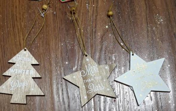 RHM1707-088 Wooden Hanging Ornament Tree/Star