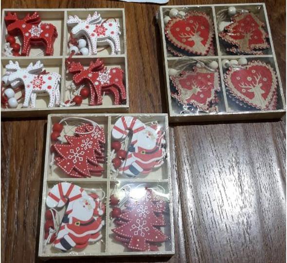 RHM1707-092 4Design Christmas Wooden Ornament Set