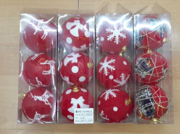 RHM1707-009 3pc Big Christmas Ball Red&White
