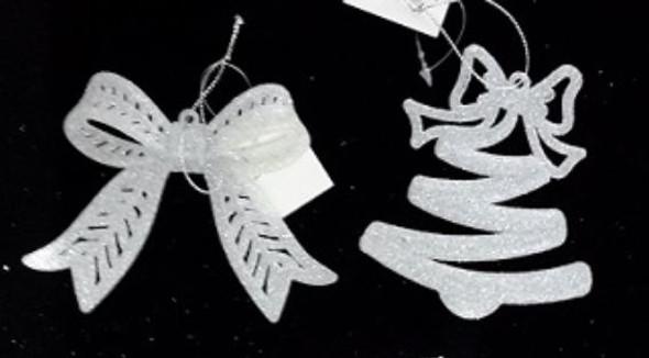 RHM1707-168 White Ribbon Design Ornament