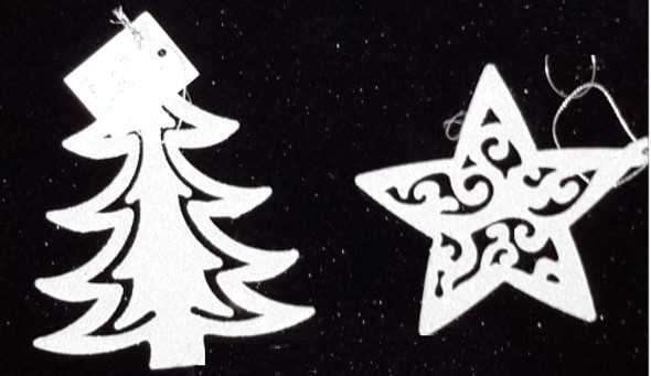 RHM1707-171 White Christmas Tree/Star Ornament