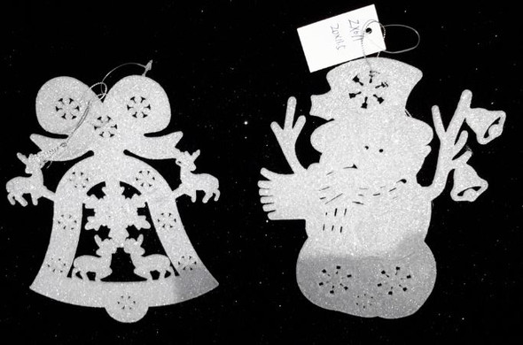 RHM1707-176 White Bell/Snowman Ornament