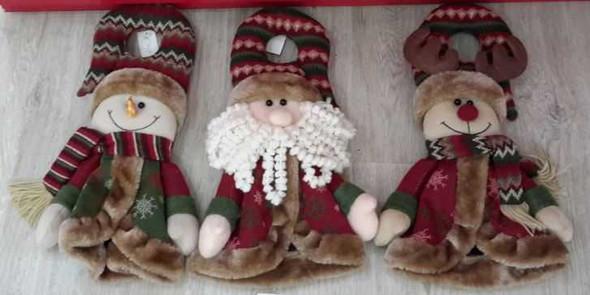 RHM1707-120 Santa/Snowman Doorknob Christmas Decor