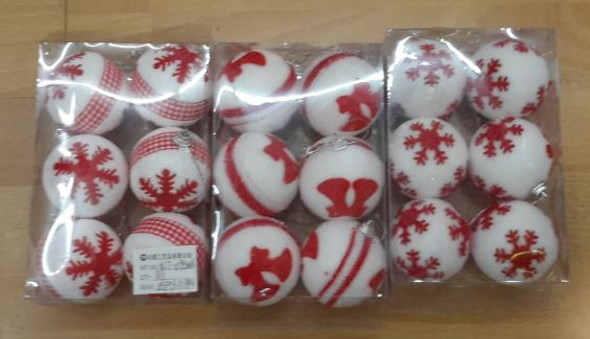 RHM1707-007 6pc Christmas Ball White/Red Color