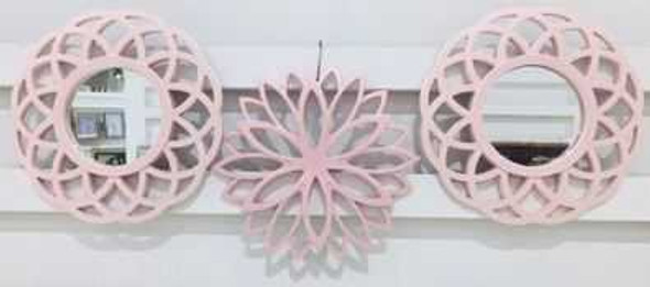 Decorative Mirror Set of 3 - 25cm CFII1810-036 KM3D-07  Pastel Pink