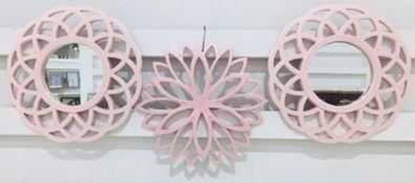 Decorative Mirror Set of 3 - 25cm CFII1810-036 KM3D-07  Pastel Pink