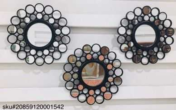 Decorative Mirror Set of 3 CFII1810-037 KM3067 Black - 25cm