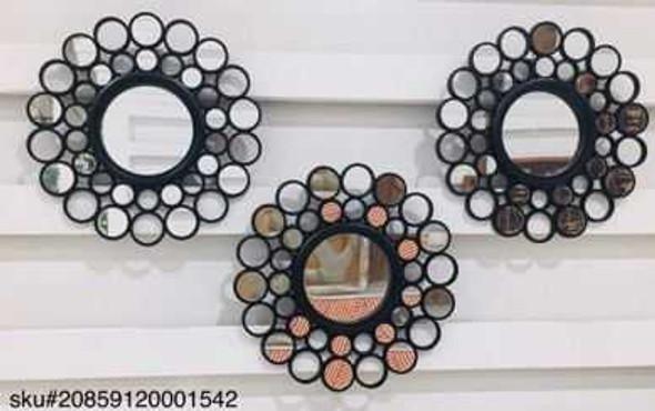 CFII1810-037 KM3067 Black Decorative Mirror Set of 3- 25cm