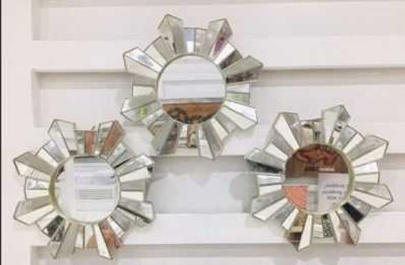 CFII1810-039 KM3071 Champagne Frame Decorative Mirror Set of 3- 25cm Sunburst Design