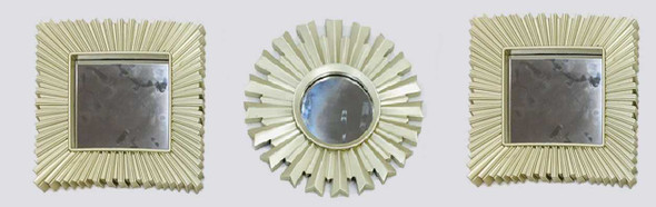 CFII1810-032 KM3051 Brushed Silver Decorative Mirror Set of 3- 25cm