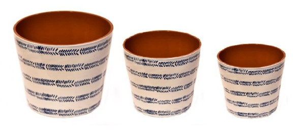 ELM JHF1804-102 Glossy Pot with Blue Pattern Print Medium