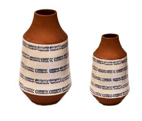 ELM JHF1804-105 Jar Shape Pot with Blue Pattern Print Small