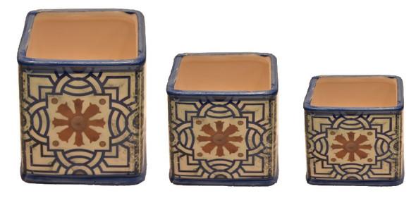 ELM JHF1804-110 Square Vase Classic Blue Pattern Medium
