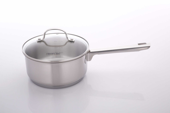 SS-MG-S18GI STAINLESS STEEL SAUCE PAN W/GLASS LID 18CM 1.5L