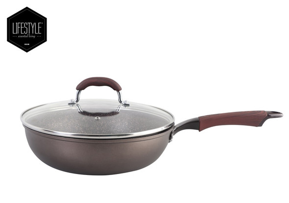 VNT-280-01-LS VINTAGE 28CM FORGED DEEP FRYPAN WITH LID