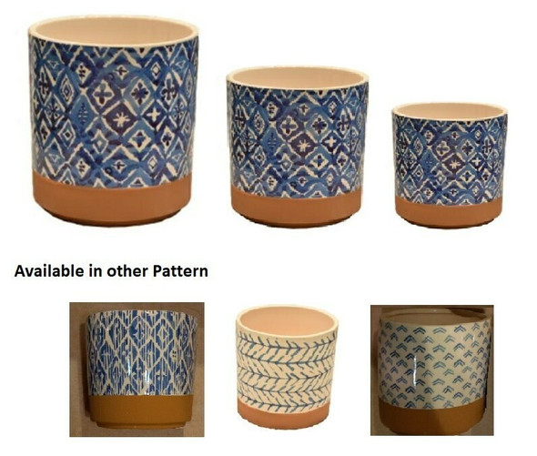 ELM JHF1804-108 Round Pot with Blue Pattern and Brown Base Line Small