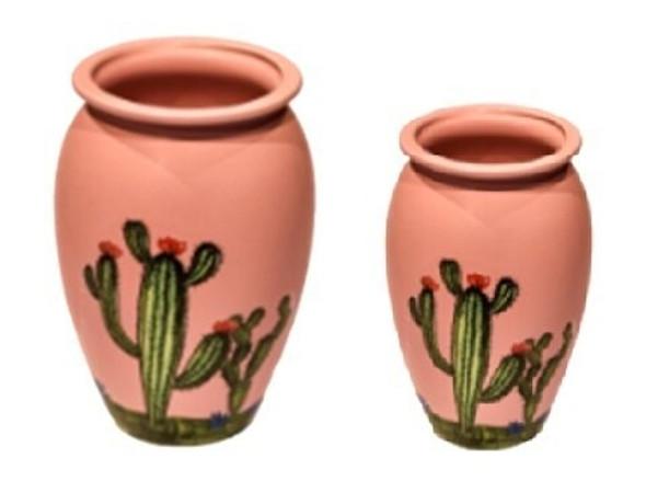 ELM JHF1804-091 Jar Shape Plant Pot with Cactus Design Medium