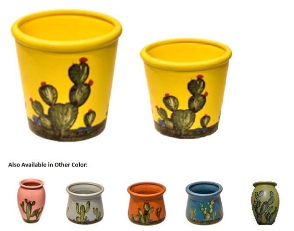ELM JHF1804-094 Plant Pot with Cactus Design Medium