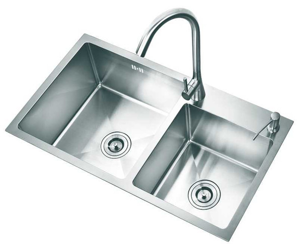 KITCHEN SINK STAINLESS STEEL SHM3218 304 DOUBLE BOWL 32X18X8.7
