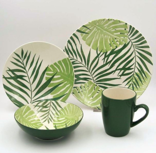 16pc Dinner Set Stoneware – Palm Leaf Green